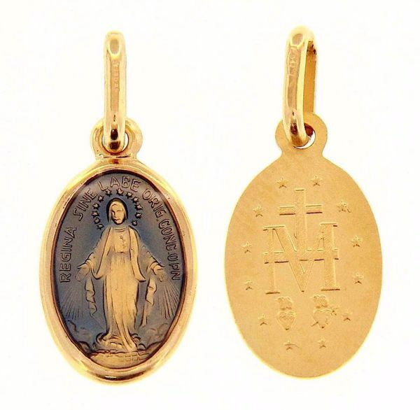 Imagen de Virgen María Nuestra Señora Milagrosa Medalla Sagrada Colgante oval Acuñación gr 1,3 Oro amarillo 18kt con Esmalte azul para Mujer