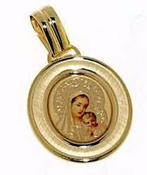 Picture of Madonna and Child Sacred Oval Medal Pendant gr 1,8 Yellow Gold 18k with Enamel for Woman