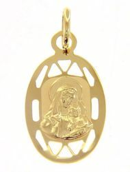 Picture of Madonna and Child with pierced edge Oval Medal Pendant gr 0,75 Yellow Gold 9k for Woman