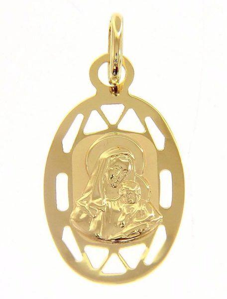 Immagine di Madonna con Bambino con bordo traforato Medaglia Pendente ovale gr 0,75 Oro giallo 9kt da Donna
