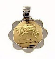 Picture of Angel of Raphael Sacred Medal Round Pendant gr 1,6 Bicolour yellow white Gold 18k with flower edge for Woman, Boy and Girl