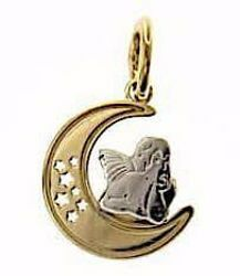 Picture of Angel of Raphael with Moon and Stars Sacred Medal Round Pendant gr 1 Bicolour yellow white Gold 18k for Woman, Boy and Girl