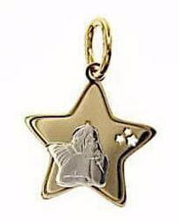 Picture of Angel of Raphael with Stars Sacred Medal Pendant gr 1,05 Bicolour yellow white Gold 18k for Woman, Boy and Girl
