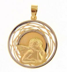 Picture of Angel of Raphael Sacred Medal Round Pendant gr 1,65 Bicolour yellow white Gold 18k for Woman, Boy and Girl