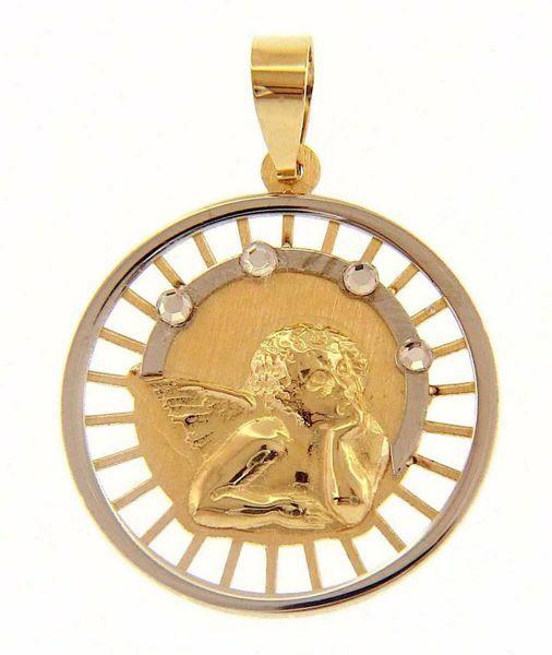 Imagen de Ángel de Rafael con 4 puntos de Luz Medalla Sagrada Colgante redonda gr 1,4 Bicolor Oro blanco amarillo 18kt con Zircones para Mujer y para Niña y Niño
