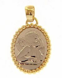 Picture of Angel of Raphael Sacred Oval Medal Pendant gr 2,7 Bicolour yellow white Gold 18k with sphere Crown for Woman, Boy and Girl