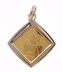 Picture of Angel of Raphael Sacred Medal Pendant gr 1,4 Bicolour yellow white Gold 18k for Woman, Boy and Girl