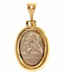 Picture of Angel of Raphael Sacred Oval Medal Pendant gr 2,3 Bicolour yellow white Gold 18k for Woman, Boy and Girl