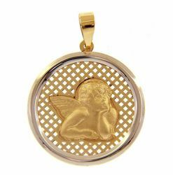 Picture of Angel of Raphael with perforated background Sacred Medal Round Pendant gr 2 Bicolour yellow white Gold 18k for Woman, Boy and Girl