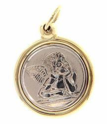 Picture of Angel of Raphael Sacred Medal Round Pendant gr 2,9 Bicolour yellow white Gold 18k for Woman, Boy and Girl