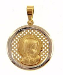 Picture of Young Mary praying with aureole Sacred Medal Round Pendant gr 1,7 Bicolour yellow white Gold 18k for Woman, Boy and Girl