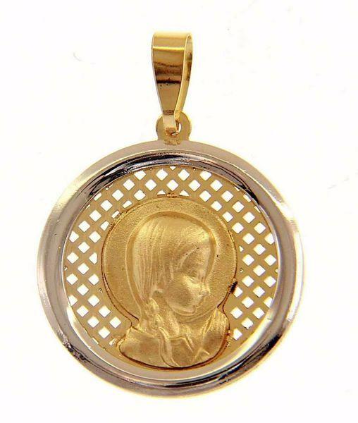 Imagen de María niña en Oración con aureola Medalla Sagrada Colgante redonda gr 1,7 Bicolor Oro blanco amarillo 18kt para Mujer y para Niña y Niño