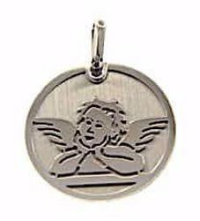 Picture of Angel of Raphael Sacred Medal Round Pendant gr 1,6 White Gold 18k for Woman, Boy and Girl