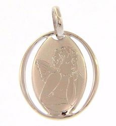Picture of Angel of Raphael perforated Sacred Oval Medal Pendant gr 0,7 White Gold 18k for Woman, Boy and Girl