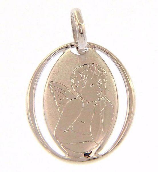 Imagen de Ángel de Rafael perforado Medalla Sagrada Colgante oval gr 0,7 Oro blanco 18kt para Mujer y para Niña y Niño