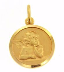 Picture of Angel of Raphael Coining Sacred Medal Round Pendant gr 3,2 Yellow Gold 18k for Woman, Boy and Girl