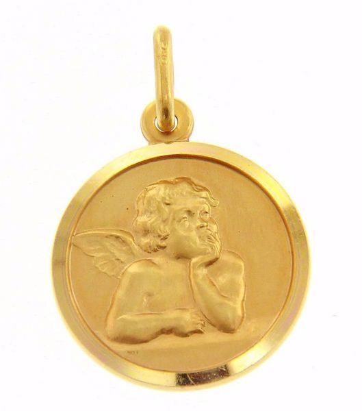 Immagine di Angelo di Raffaello Medaglia Sacra Pendente tonda Conio gr 3,2 Oro giallo 18kt Donna Bimba Bimbo