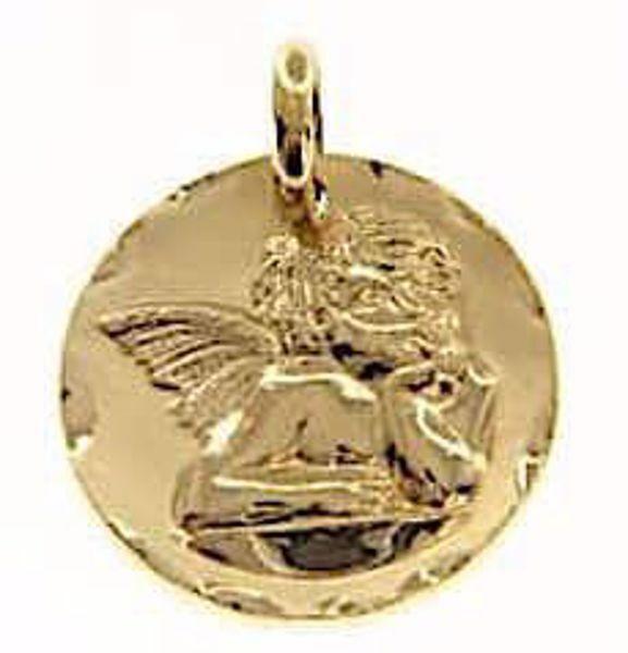 Immagine di Angelo di Raffaello Medaglia Sacra Pendente tonda gr 4,9 Oro giallo 18kt Donna Bimba Bimbo
