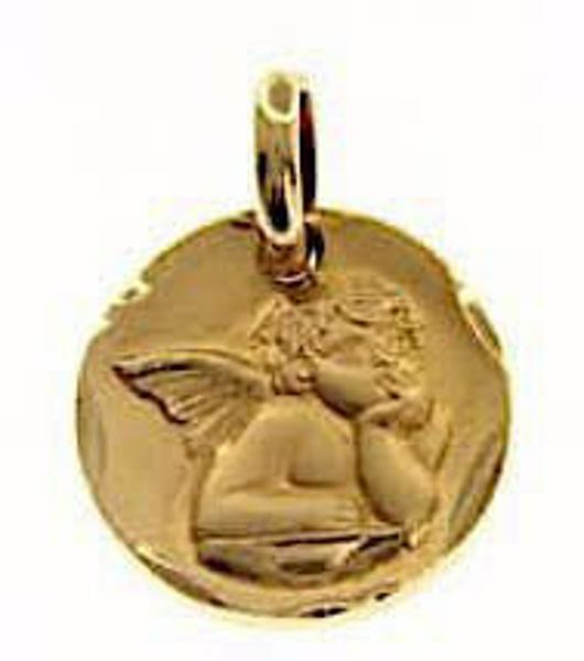 Picture of Angel of Raphael with with carved edge Sacred Medal Round Pendant gr 3,5 Yellow Gold 18k for Woman, Boy and Girl
