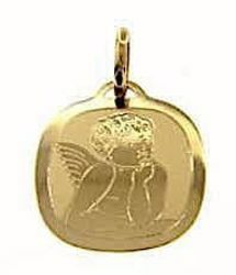 Picture of Angel of Raphael Sacred Square Medal Pendant gr 0,95 Yellow Gold 18k with laser engraving for Woman, Boy and Girl