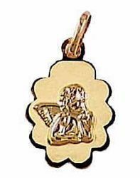 Picture of Angel of Raphael Sacred Oval Medal Pendant gr 0,7 Yellow Gold 18k with flower edge for Woman, Boy and Girl