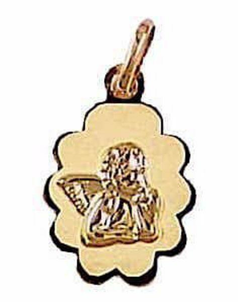 Imagen de Ángel de Rafael Medalla Sagrada Colgante oval gr 0,7 Oro amarillo 18kt con borde de flor para Mujer y para Niña y Niño