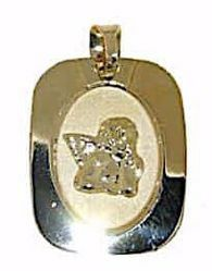 Picture of Angel of Raphael Sacred Rectangular Medal Pendant gr 1,1 Yellow Gold 18k for Woman, Boy and Girl