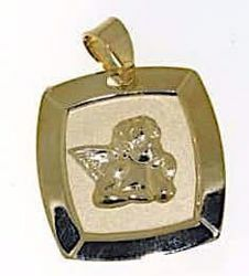 Picture of Angel of Raphael Sacred Square Medal Pendant gr 1,3 Yellow Gold 18k for Woman, Boy and Girl