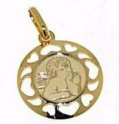 Picture of Angel of Raphael Sacred Medal Round Pendant gr 1 Yellow Gold 18k with heart Frame for Woman, Boy and Girl