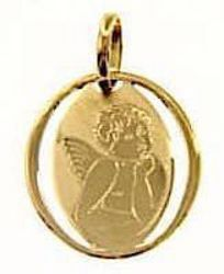 Picture of Angel of Raphael Sacred Oval Medal Pendant gr 0,75 Yellow Gold 18k for Woman, Boy and Girl