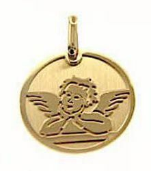 Picture of Stylized Angel of Raphael Sacred Medal Round Pendant gr 1,65 Yellow Gold 18k for Woman, Boy and Girl