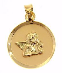 Picture of Angel of Raphael Sacred Medal Round Pendant gr 0,75 Yellow Gold 18k for Woman, Boy and Girl