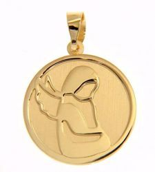Picture of Stylized Guardian Angel Sacred Medal Round Pendant gr 1,5 Yellow Gold 18k for Woman, Boy and Girl