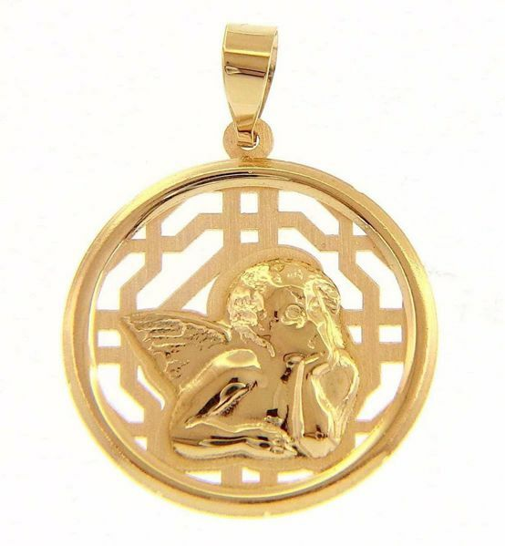 Picture of Angel of Raphael with perforated background Sacred Medal Round Pendant gr 1,55 Yellow Gold 18k for Woman, Boy and Girl