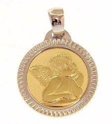 Immagine di Angelo di Raffaello bordo lavorato Medaglia Sacra Pendente tonda gr 2,5 Oro giallo 18kt Donna Bimba Bimbo