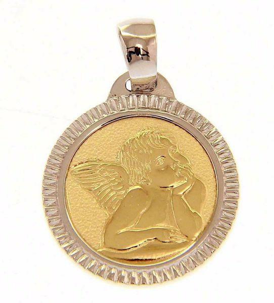 Imagen de Ángel de Rafael con borde trabajado Medalla Sagrada Colgante redonda gr 2,5 Oro amarillo 18kt para Mujer y para Niña y Niño