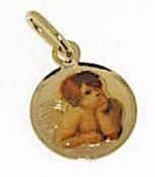 Picture of Angel of Raphael Sacred Medal Round Pendant gr 0,65 Yellow Gold 18k with Enamel for Woman, Boy and Girl