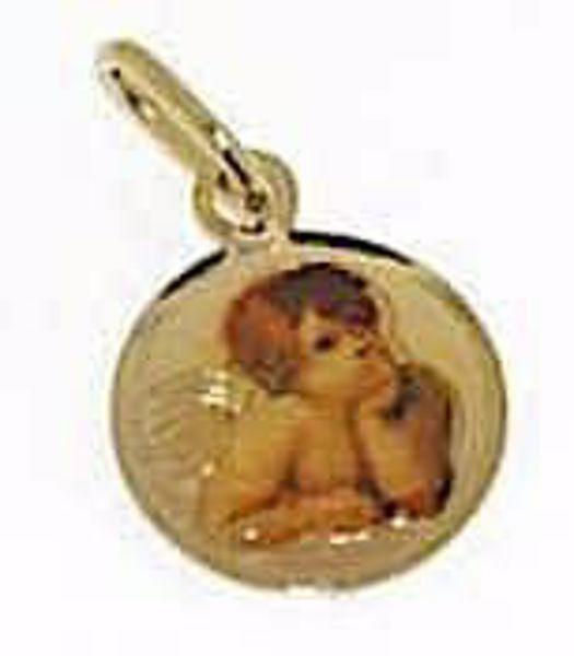 Immagine di Angelo di Raffaello Medaglia Sacra Pendente tonda gr 0,65 Oro giallo 18kt con Smalto Donna Bimba Bimbo