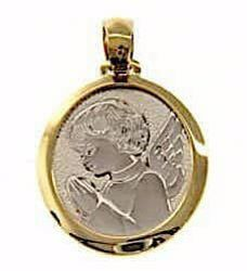 Picture of Guardian Angel praying Sacred Medal Round Pendant gr 2,4 Bicolour yellow white Gold 18k for Children (Boys and Girls)