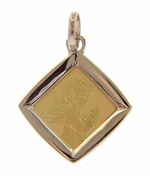 Picture of Guardian Angel praying Sacred Square Medal Pendant gr 1,4 Bicolour yellow white Gold 18k for Children (Boys and Girls)