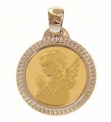 Immagine di Angelo Custode in preghiera con bordo lavorato Medaglia Sacra Pendente tonda gr 2,5 Bicolore Oro giallo bianco 18kt per Bimba e Bimbo