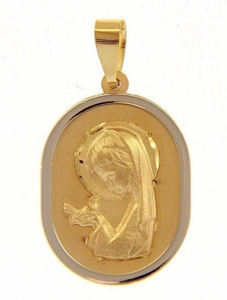 Imagen de María niña con Paloma Medalla Sagrada Colgante oval gr 1,4 Bicolor Oro blanco amarillo 18kt para Niño y Niña