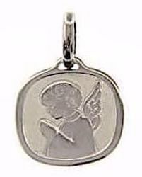 Picture of Guardian Angel praying Sacred Square Medal Pendant gr 1,6 White Gold 18k for Children (Boys and Girls)