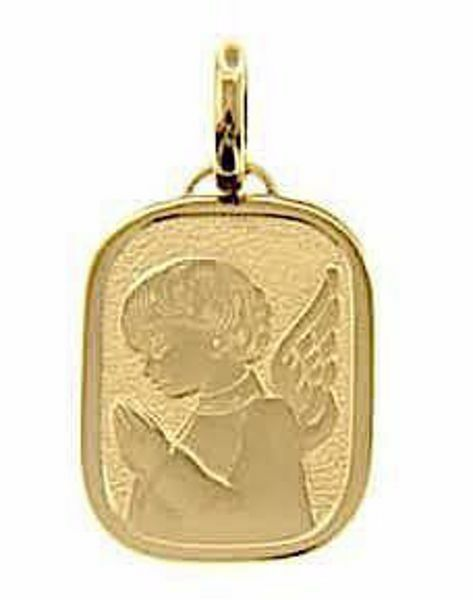 Picture of Guardian Angel Sacred Rectangular Medal Pendant in bas-relief gr 2,5 Yellow Gold 18k for Children (Boys and Girls)