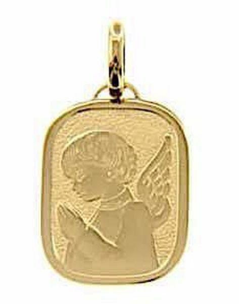 Immagine di Angelo Custode Medaglia Sacra Pendente rettangolare Bassorilievo gr 2,5 Oro giallo 18kt per Bimba e Bimbo