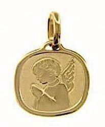 Immagine di Angelo Custode in preghiera Medaglia Sacra Pendente quadrata Bassorilievo gr 1,7 Oro giallo 18kt per Bimba e Bimbo