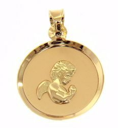 Picture of Guardian Angel praying Sacred Medal Round Pendant gr 1,1 Yellow Gold 18k for Children (Boys and Girls)