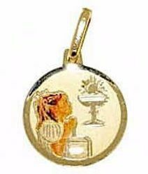 Picture of Girl praying First Communion Sacred Medal Round Pendant gr 0,9 Yellow Gold 18k with Enamel for Children (Boys and Girls)