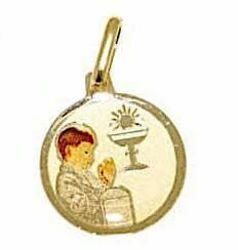 Immagine di Bimbo in Preghiera Prima Comunione Medaglia Sacra Pendente Comunione gr 0,9 Oro giallo 18kt con Smalto per Bimba e Bimbo