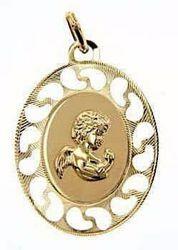 Immagine di Angelo Custode in preghiera con bordo traforato Medaglia Pendente ovale gr 1,05 Oro giallo 9kt per Bimba e Bimbo